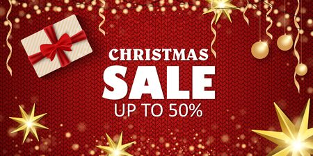 Christmas sale on a beautiful background. Christmas tree and toys, gifts. Vector illustration Stock Photo