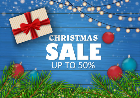 Christmas sale on red background. Christmas toys. Vector illustration