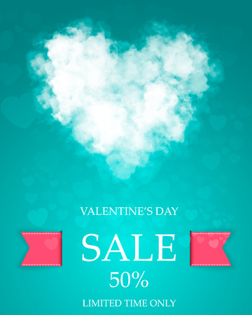 Valentines day super sale template Vector illustration. Ilustração