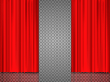 Realistic red theatrical curtain of shiny material with reflection on stage. Vector illustration, eps 10.