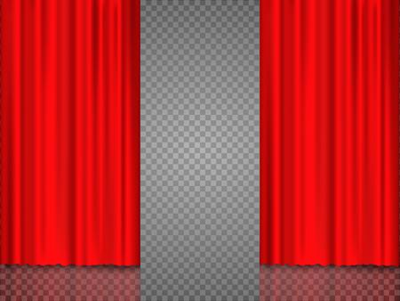 Realistisch rood theatraal gordijn van glanzend materiaal met reflectie op het podium. Vector illustratie, eps 10.