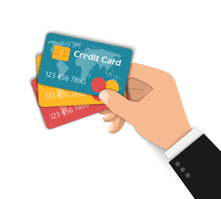 Hand holds three credit cards. Vector flat illustration