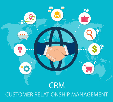 CRM : Customer relationship management. Flat icons of accounting system, clients, support, deal. Organization of data on work with clients, CRM concept. Vector illustration EPS10