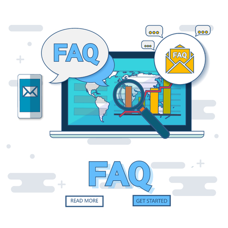 FAQ website banner. Vector illustration concept for frequently asked questions or questions and answers, client or customer support, product and service information.