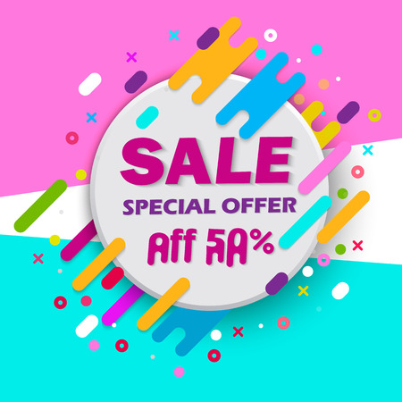 Super Sale and special offer. 50% off. Vector illustration. Trendy neon geometric figures wallpaper in a modern material design style. Coloured banner Illustration