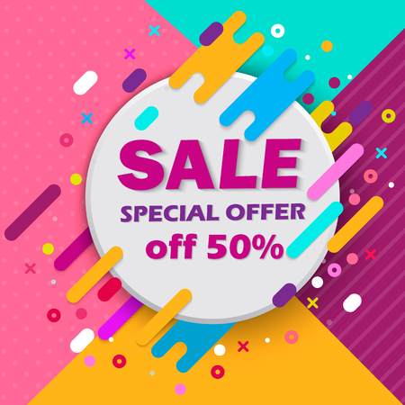 Super Sale and special offer. 50% off. Vector illustration. Trendy neon geometric figures wallpaper in a modern material design style.
