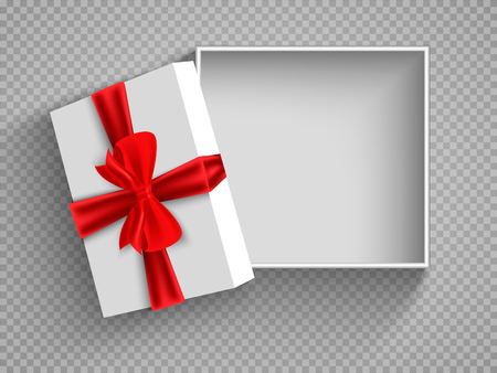Open gift box with red bow isolated on white. Illustration Isolated on a transparent background. Vector. Vettoriali