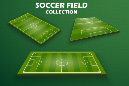 Set of Soccer green field for game