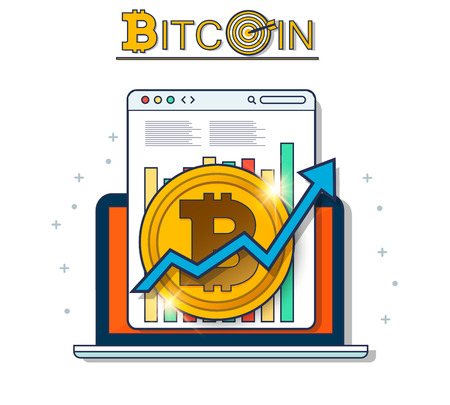 Digital bitcoin cryptocurrency concept.  Growing chart with golden bitcoin. Vector background. EPS10