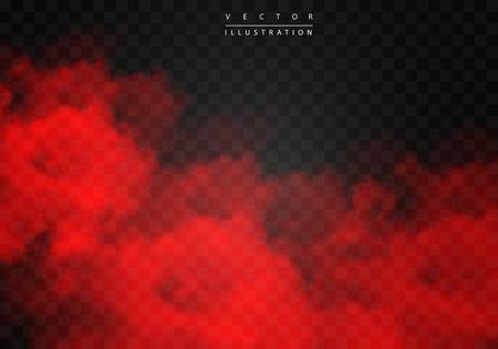 Brouillard rouge ou fumée couleur isolé effet spécial transparent. Nébulosité de vecteur blanc, fond de smog brouillard. illustration