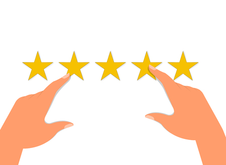 Customer Experience Concept, Best Excellent Services for Satisfaction present by Hand of Client giving a Star Rating. Vector illustration of EPS10