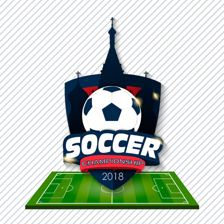Icon  football cup 2018. Design of background soccer championship. Element design cards, invitations, gift , flyers, brochures. Vector illustration.