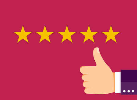 Customer Experience Concept, Best Excellent Services for Satisfaction present by Hand of Client giving a Star Rating.
