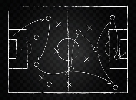 Soccer game tactical scheme. The scheme of the game. Strategy and Tactics On the chalkboard.