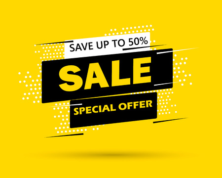 Super Sale and special offer. 50% off. Vector illustration. Trendy neon geometric figures wallpaper in a modern material design style. Coloured banner Stock Vector - 98561965