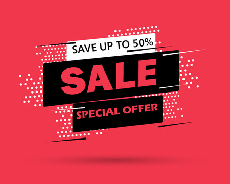 Super Sale and special offer. 50% off vector illustration. Trendy neon geometric figures wallpaper in a modern material design style. Coloured banner Illustration
