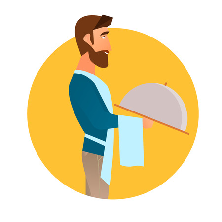 Hipster waiter with a beard holding a tray. Vector illustration of a flat design in a circle, isolated on a background.