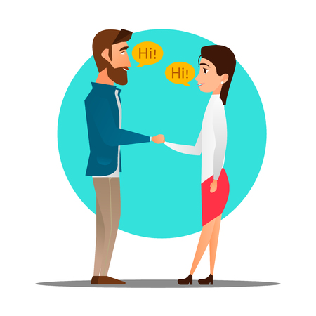 Man meets a woman. Handshake, pleasant meeting. Happy meeting. Vector flat design illustration in the circle.