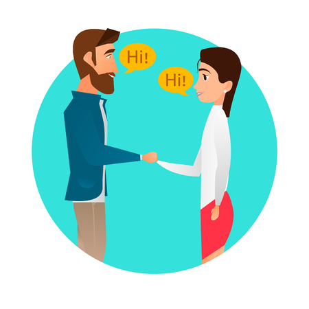 Man meets a woman. Handshake, pleasant meeting. Vector flat design illustration in the circle.