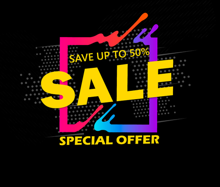 Super Sale and special offer. 50% off. Vector illustration. Trendy neon geometric figures wallpaper in a modern material design style. Coloured banner Illusztráció