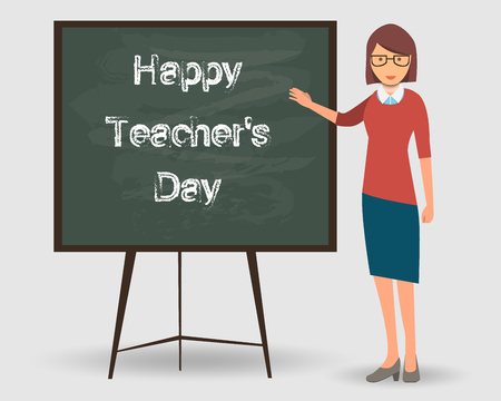 Happy Teacher's Day. Teacher at the lesson in front of the board in the classroom. The teacher is pointing at the board. Vector EPS10 illustration Illustration