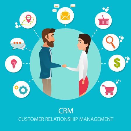 CRM or Customer relationship management Vector illustration Illustration