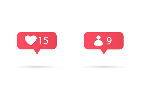 Counter Notification Icon Instagram. Follower Inst. New Icon like. Social media like insta ui, app, iphone. Vector illustration Иллюстрация