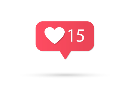 Counter Notification Icon Instagram. Follower Inst. New Icon like. Social media like insta ui, app, iphone. Vector illustration Vettoriali