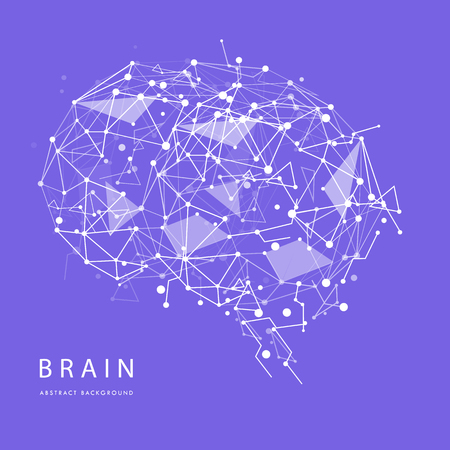 Monochrome polygonal wireframe brain isolated on background. Vector abstract graphic design. Illustration