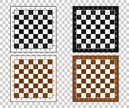 Chess pieces in flat style. Black and white chessboard with chess pieces. Vector illustration