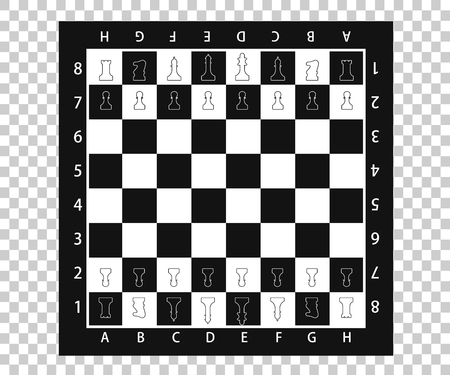 Chess pieces in flat style. Black and white chessboard with chess pieces. Vector illustration Illustration