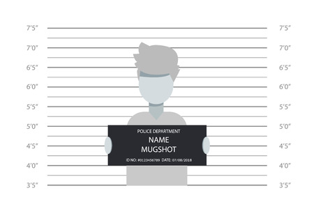 Police lineup, mugshot template with a table. Design silhouette of anonymous. Abstract concept graphic element. Creative vector illustration EPS10 Standard-Bild - 114766636
