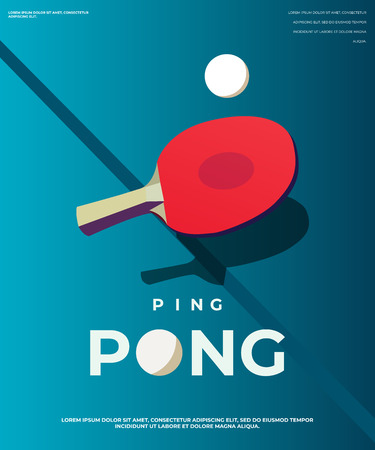 Pingpong Poster Template. Table and rackets for ping-pong. Vector illustration EPS10 Vectores