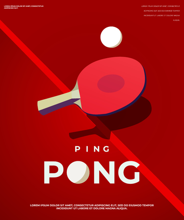 Pingpong Poster Template. Table and rackets for ping-pong. Vector illustration EPS10 Vettoriali