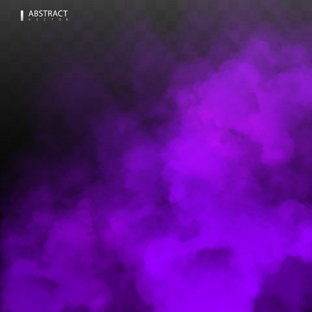 Purple Fog or smoke color isolated transparent special effect. White vector cloudiness, mist smog background. illustration Illustration
