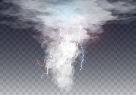 Realistische tornado met bliksem, destructieve orkaan geïsoleerd op transparante achtergrond. Windcycloon, werveling met donkere wolken in de lucht, gevaarlijke natuurramp. vector illustratie