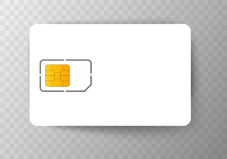 Sim Card mobile Cellular Phone Chip. Vector Isolated on Background Çizim