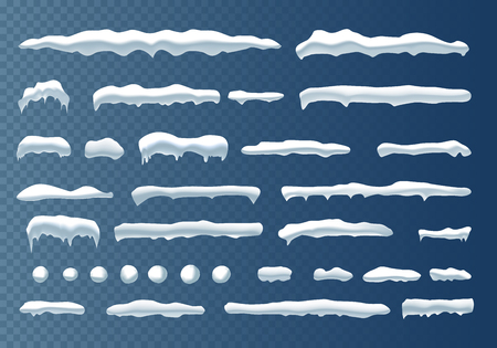 Set of snow icicles, snow cap isolated. Snowy elements on winter background. Vector template in cartoon style