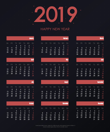 Calendar 2019 new year in clean minimal simple style. Holiday event planner. Week starts on sunday Фото со стока - 127635397