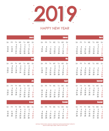 Calendar 2019 new year in clean minimal simple style. Holiday event planner. Week starts on sunday