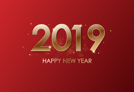 Happy New Year 2019 winter holiday greeting card design template. Party poster, banner or invitation gold glittering stars confetti glitter decoration. Vector background with golden gift bow Фото со стока - 127635400