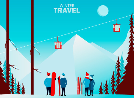 Winter travel. Travel to World. Vacation. Road trip. Tourism. Journey. Travelling illustration. Couple skiing. Winter cityscape, winter sports, outdoors. New year. Flat design. Merry Christmas banners in flat style.