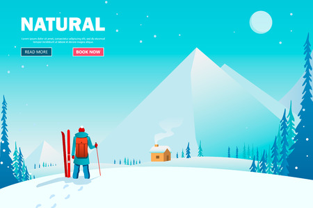 A man walks alone in the mountains. Adventure trip. Ziny vacation. Around the world. Cartoon style. Vector Illustration EPS10