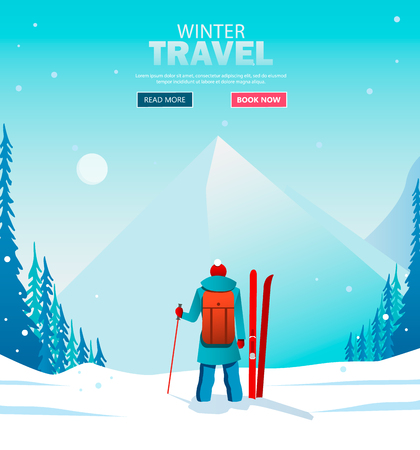 A man walks alone in the mountains. Adventure trip. Ziny vacation. Around the world. Cartoon style. Vector Illustration EPS10 Фото со стока - 127240999