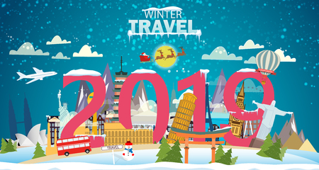 Winter travel. Travel to World. Vacation. Road trip. Tourism. Journey. Travelling illustration. Couple skiing. Winter cityscape, winter sports, outdoors. New year. Flat design. Merry Christmas banners in flat style. Фото со стока - 127222158