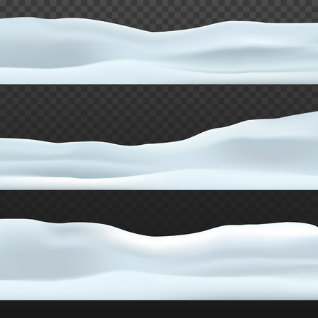 Winter decoration. Snowy landscape isolated on ?????????? transparent background. Snow hills background. Vector illustration EPS10 Фото со стока - 127222159