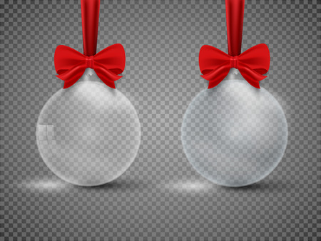 Glass transparent Christmas ball with ribbon isolated on white background. Vector illustration.