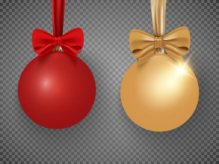 Red and gold Christmas ball with ribbon isolated on white background. Vector illustration. Фото со стока - 127190853