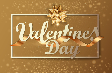 Valentines day background greeting card design template. Party poster, banner or invitation gold glittering stars confetti glitter decoration. Vector background with golden gift bow Фото со стока - 126931881