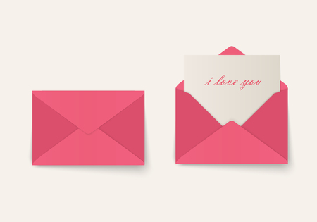 Love letter Valentine's Day envelopes with paper and an inscription